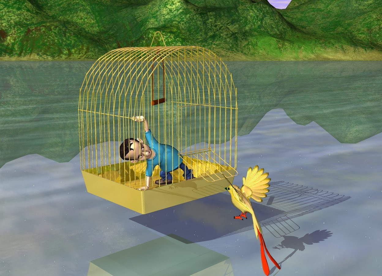 Input text: the man fits in the gold cage. A golden canary is in front of the cage. The canary is facing the cage.