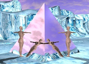 There is a 100 foot tall silver pyramid. There is a 50 foot tall woman to the right of the pyramid. The woman is facing the pyramid. There is a 50 foot tall woman behind the pyramid. There is a light on top of the pyramid.