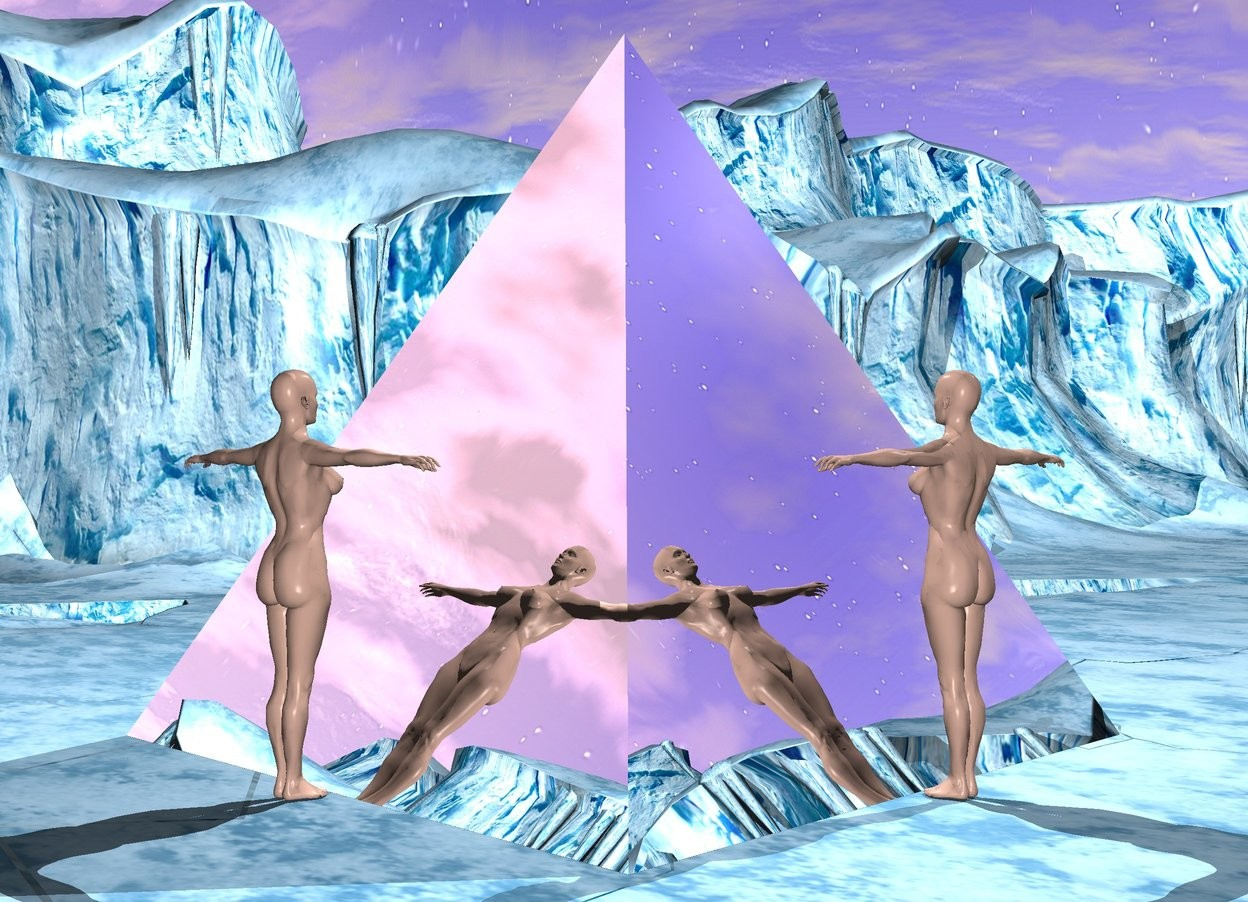 Input text: There is a 100 foot tall silver pyramid. There is a 50 foot tall woman to the right of the pyramid. The woman is facing the pyramid. There is a 50 foot tall woman behind the pyramid. There is a light on top of the pyramid.