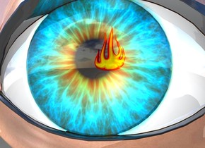 There is an eye. there is a fire 50 centimeters in front of the eye. the eye is shiny.