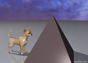 There is a 150 foot tall stone gray pyramid. There is a 100 foot tall chihuahua to the left of the pyramid. The chihuahua is facing the pyramid.  There is a black hole on top of the pyramid.