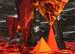 a fire cone. a shiny smoke pyramid is upside down and -0.1 feet above the fire cone. 1st large shiny smoke cone is behind and right of the fire cone. 2nd large shiny smoke cone is behind and left of the fire cone. it is upside down. it faces back. a small fire pyramid is -0.1 feet left of the fire cone. a 30 feet long and 15 feet high silver wall is 1 feet behind the 1st smoke cone. the sky is  1000 feet tall smoke. the ground is 10000 feet tall fire. the camera light is rust. the sun's azimuth is 168 degrees. the sun's altitude is 56 degrees. the ambient light is old gold. a small shiny smoke sphere is 0.4 feet left of the fire pyramid