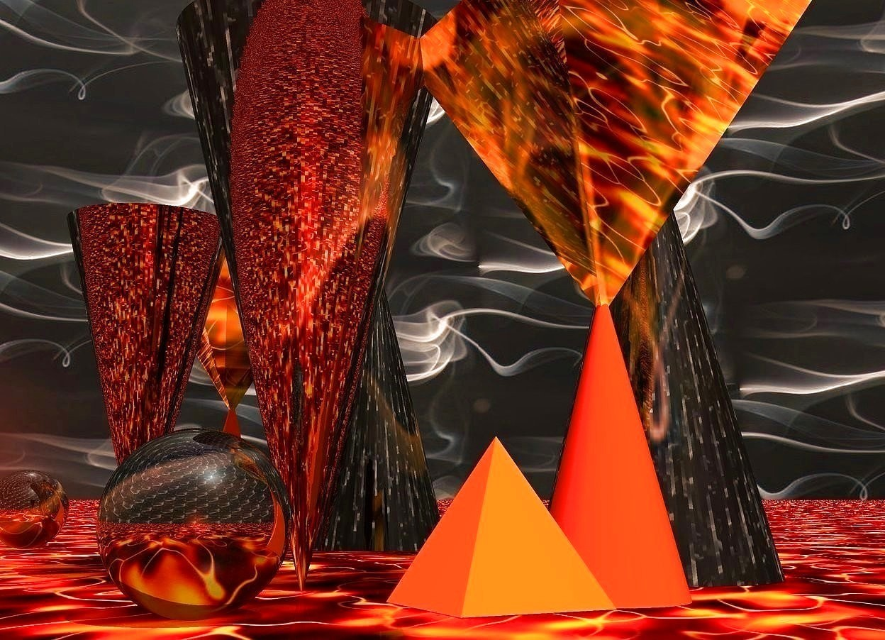 Input text: a fire cone. a shiny smoke pyramid is upside down and -0.1 feet above the fire cone. 1st large shiny smoke cone is behind and right of the fire cone. 2nd large shiny smoke cone is behind and left of the fire cone. it is upside down. it faces back. a small fire pyramid is -0.1 feet left of the fire cone. a 30 feet long and 15 feet high silver wall is 1 feet behind the 1st smoke cone. the sky is  1000 feet tall smoke. the ground is 10000 feet tall fire. the camera light is rust. the sun's azimuth is 168 degrees. the sun's altitude is 56 degrees. the ambient light is old gold. a small shiny smoke sphere is 0.4 feet left of the fire pyramid