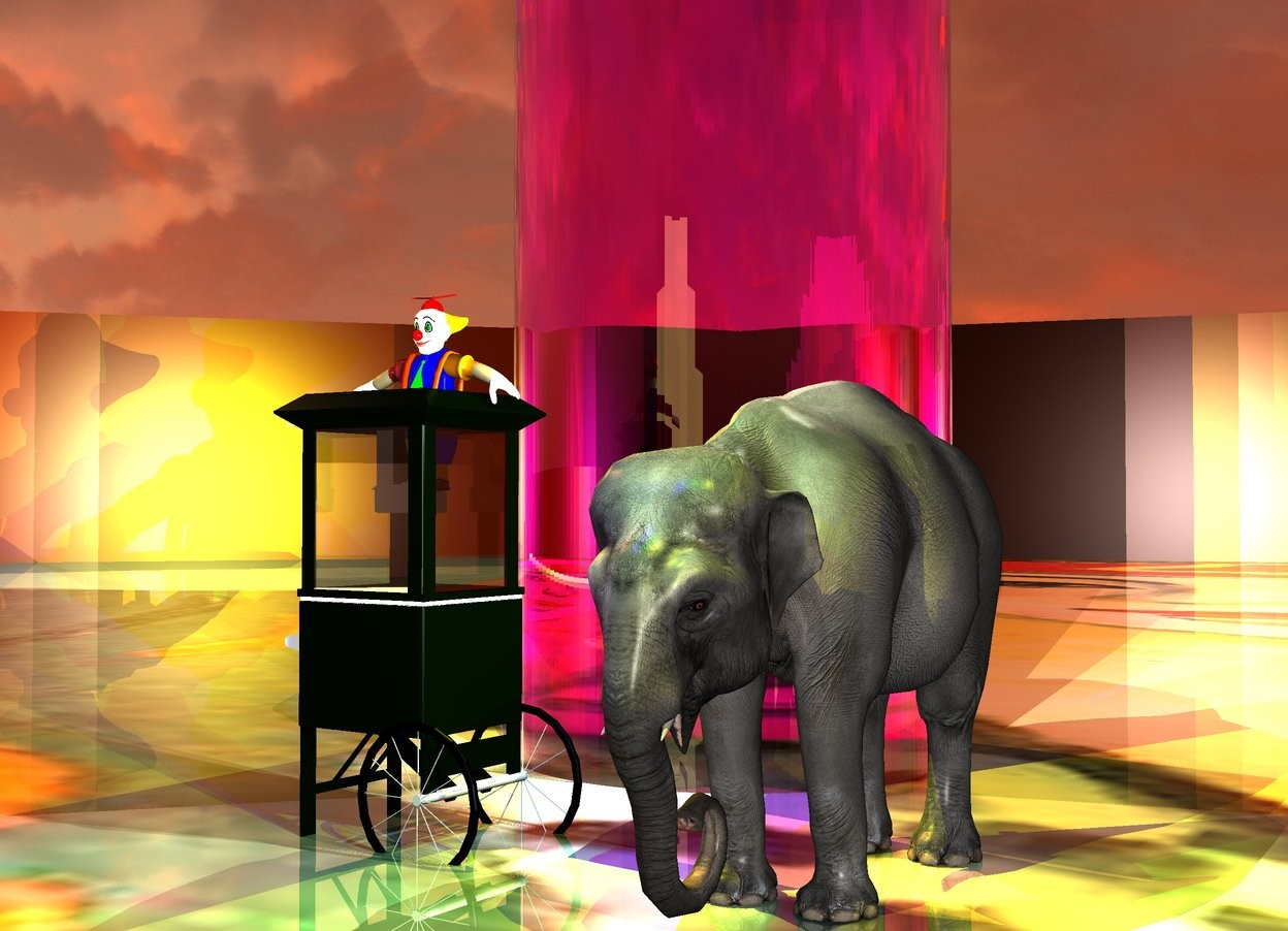 Input text: the elephant is in the middle of the matisse field.  the yellow light and the green light and the blue light are in front of the elephant. the five  lights are above the elephant. the five yellow lights are above the booth.  the field is shiny. the booth is three feet left of the elephant. the clown fits inside the booth.  the very enormous magenta glass cylinder is 4 feet behind the booth. the sun is coral.