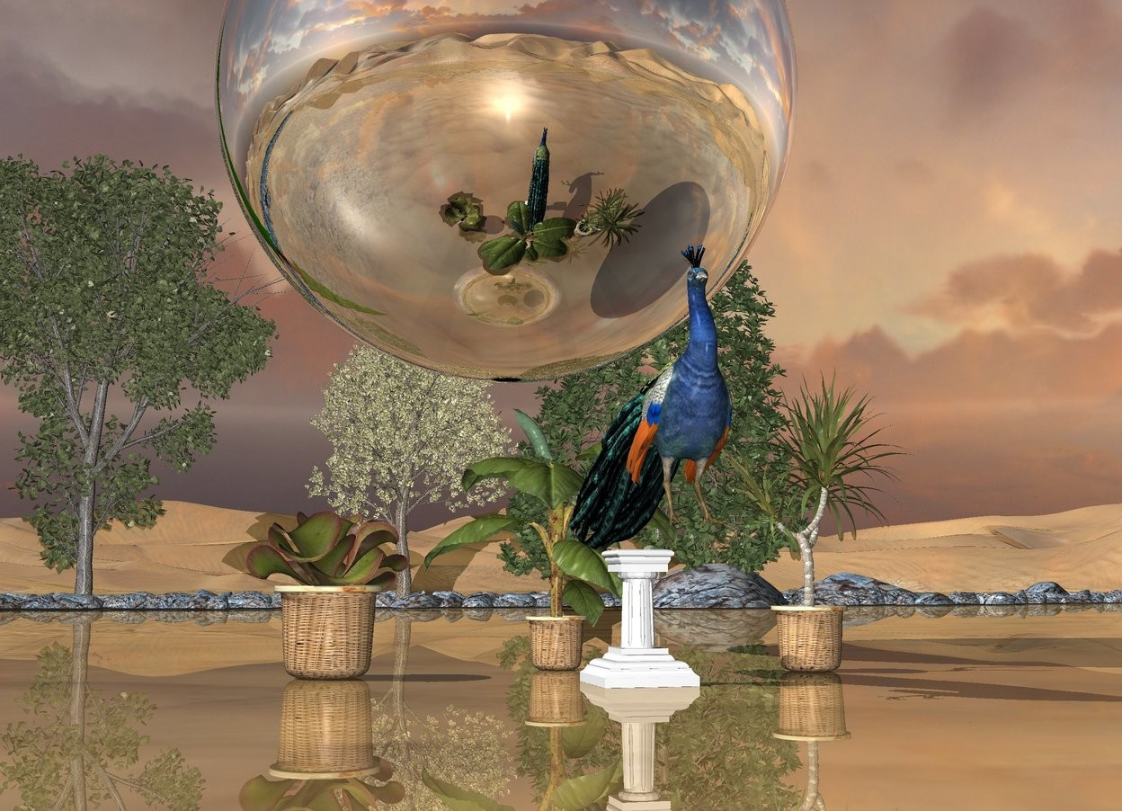 Input text: the peacock is on the tiny pedestal. the three potted plants are behind the pedestal.the enormous silver sphere is above and behind the peacock. the 4 small trees are 40 feet behind the pedestal. the ground is shiny. the river is 20 feet behind the pedestal.