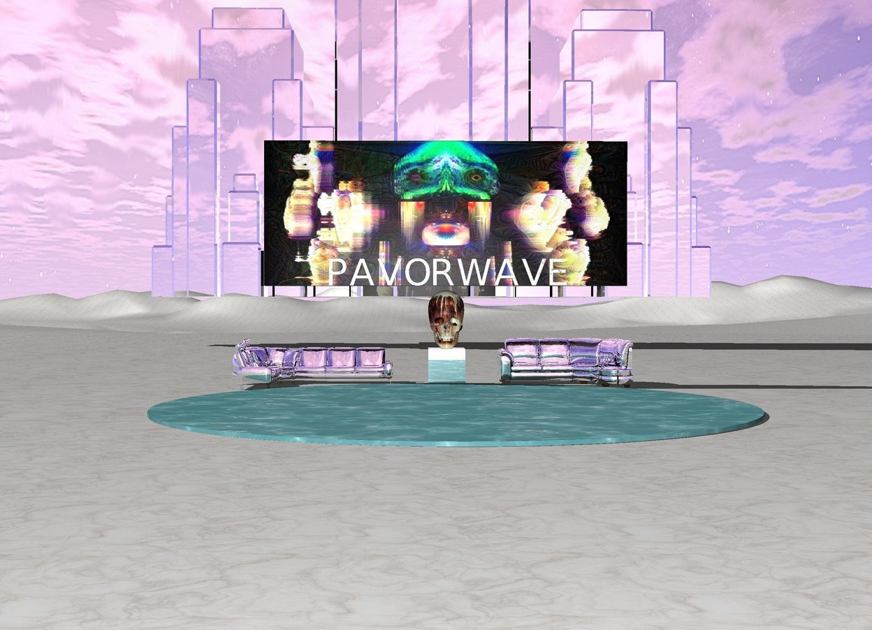"""Input text: the ground is marble. The large silver cube is on the marble mountain range . The huge [lp09] skull is on the cube . The  marble """"PAVORWAVE"""" is a few inches above the skull .The [lp02] wall is behind the """"PAVORWAVE"""". A silver divan is a couple feet to the left of the cube .A silver divan is a couple feet to the right of the cube. A tiny lake in the front of the cube. a very tiny silver high rise fifty feet behind the wall"""