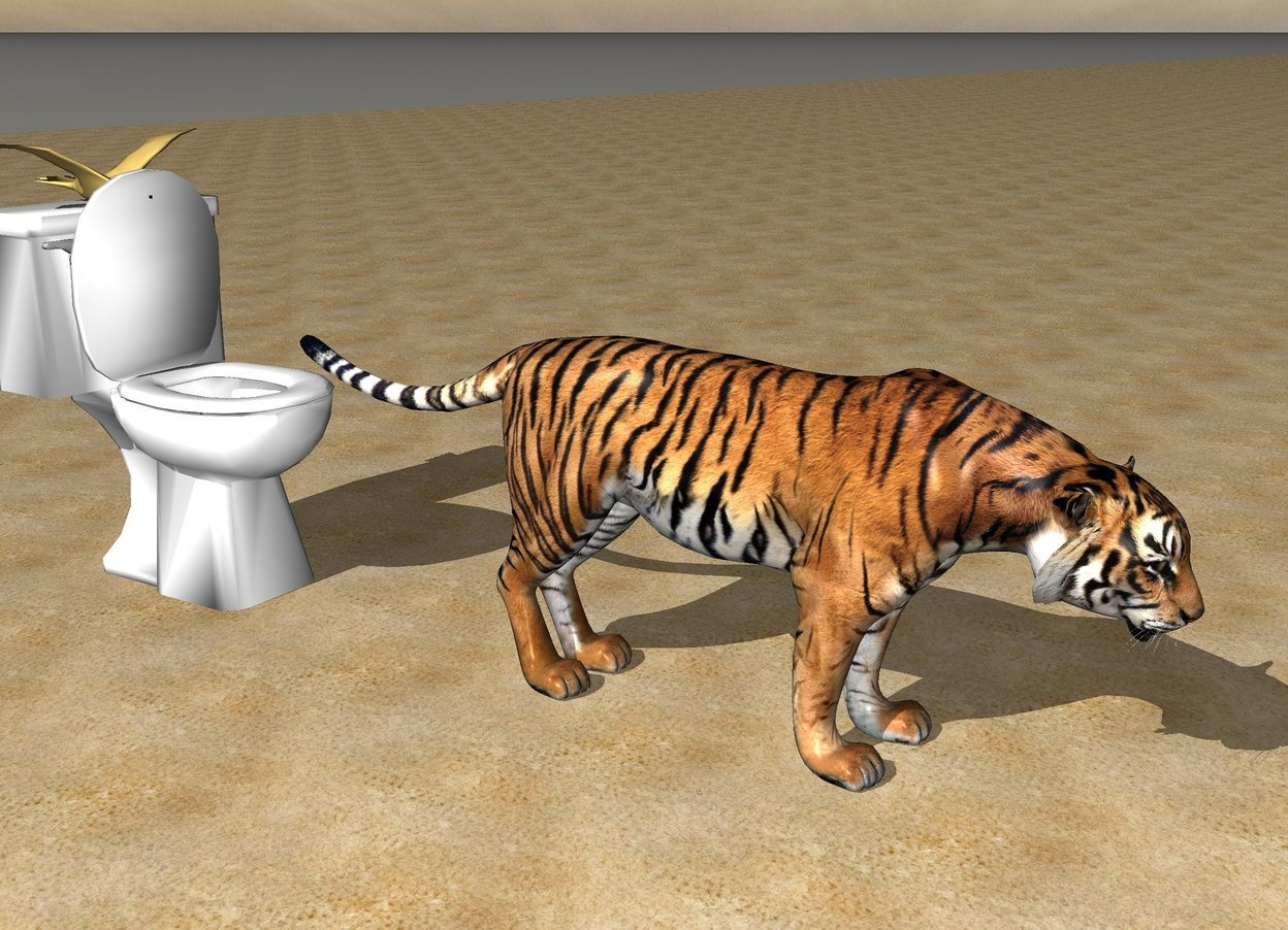 Input text: The tiger is on the beach. The tiger is standing in front of the toilet. The seagull is standing on the toilet.