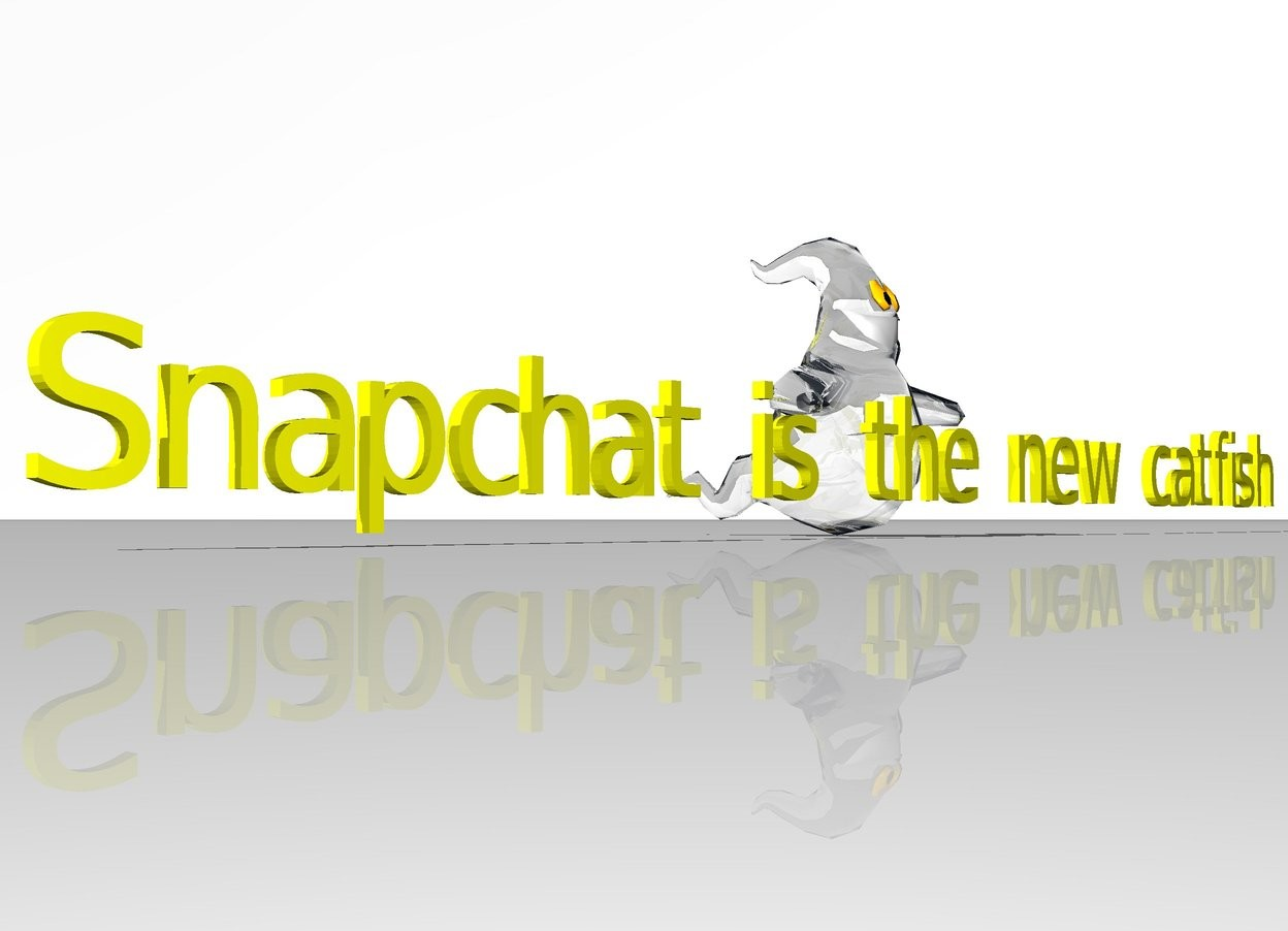 "Input text: ""Snapchat is the new catfish"" is yellow. a white ghost is behind ""Snapchat is the new catfish"". the sky is white. ground is white."