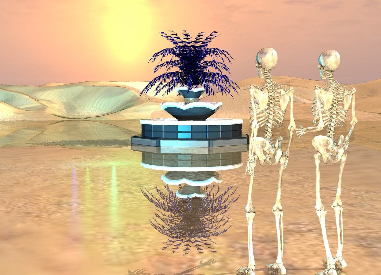 Input text: two skeletons. skeletons are shiny. ground is shiny. cyan light. purple light. green light. blue light. there is a shiny fountain 35 feet in front and to the left of the skeletons. a small tree is 16 feet in the shiny fountain. the tree is clear. the tree is blue.