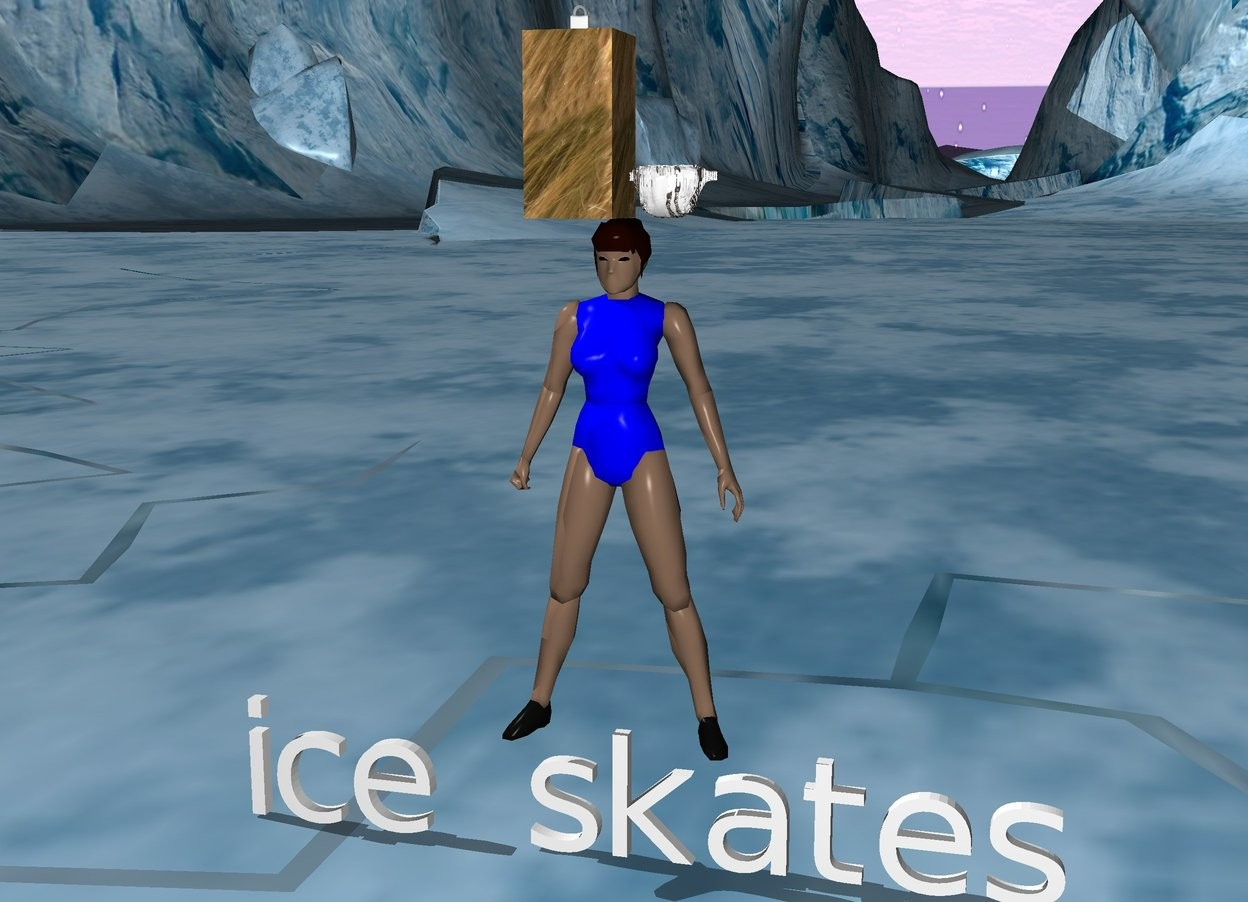 "Input text: there is a dress on a woman. the woman is navy blue. the dress is zebra. there is ""ice skates"" under the woman. there is long hair on the woman. the hair has hair texture. there is a white ribbon on the hair."