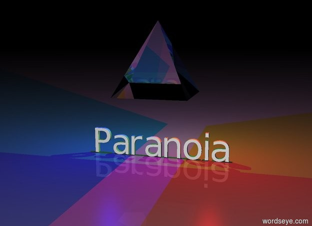 "Input text: There is a giant glass pyramid 2 feet above ""Paranoia"".  There is a big red light to the right of the pyramid.  There is a big blue light to the left of the pyramid.  There is a green light behind the pyramid.  It is night."