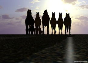 6 flat horses. The ground is unreflective texture. The texture is 1.7 feet wide. The sun is white. Camera light is black. It is dusk. The azimuth of the sun is 25 degrees. The altitude of the sun is 12  degrees. 5 flat horses are 50 feet behind the 6 flat horses. 4 small flat horses are to the right of the 5 flat horses. A small flat horse is 40 feet behind and 7 feet to the right of the 6 flat horses.