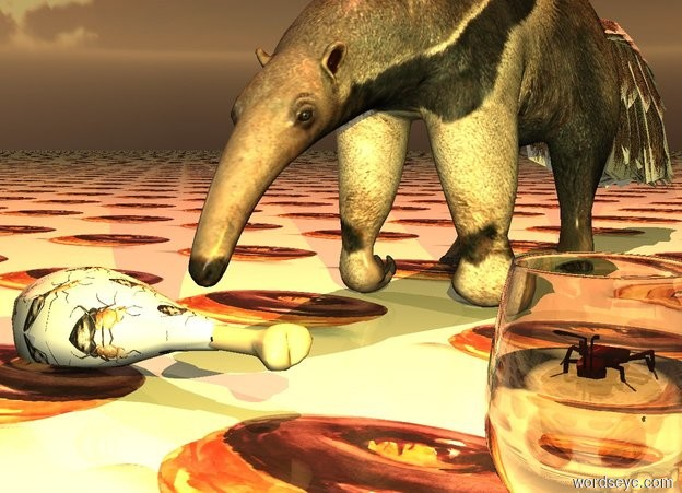 Input text: The ground is [food]. The [food] is 1.5 feet wide. A large [ants] chicken leg is in front of an anteater. It is facing east. A peach light is 6 feet above the anteater.  A wine glass is 1 foot to the right of and 0.8 foot in front of the anteater. A lemon light is in the glass. A large ant is -2.2 inches above  the glass. It is dusk.