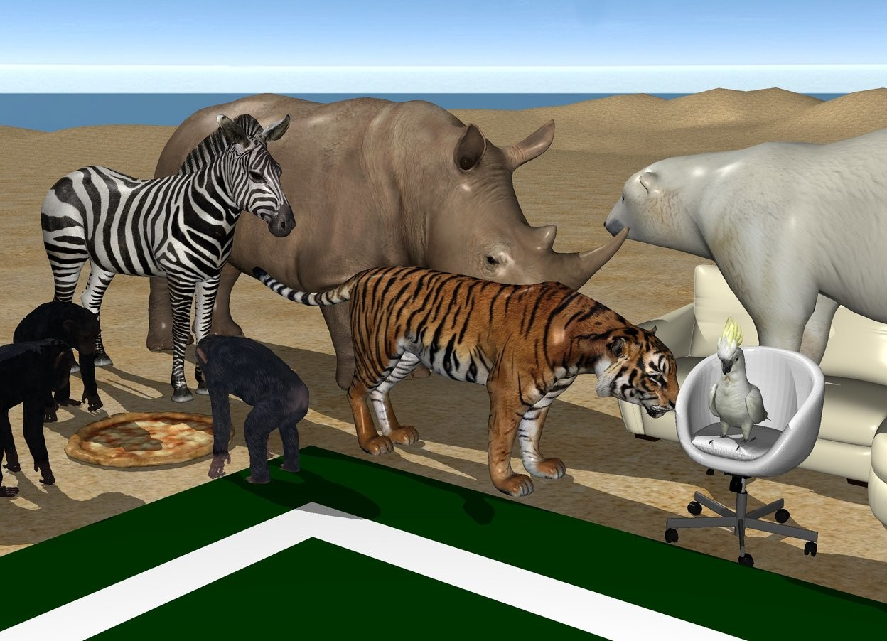 Input text: the ground is sand.  a large pizza.  first 3 foot tall chimp is left of the pizza.  second 3 foot tall chimp is in front of the pizza.  third 3 foot tall chimp is right of the pizza.  first chimp is facing east. second chimp is facing north. third chimp is facing west.  the 8.2 foot tall rhinoceros is 3 feet in back of the pizza. the rhinoceros is facing east.  the 4 foot tall couch is right of the rhinoceros.  the 6 foot tall bear is on the couch. the bear is facing west.  the chair is in front of the couch.  the 2.4 foot tall cockatoo is on the chair.  the 4.4 foot tall tiger is left of the chair. the tiger is facing the chair.  the 7.7 foot tall zebra is -1.4 feet left of the tiger. the zebra is facing east.  a mat is in front of the chair.