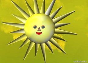 a sun symbol.a nose is in front of the sun symbol.the nose is 2 feet above the ground.a mouth is in front of the sun symbol.the mouth is 1.85 feet above the ground.the mouth is -2.6 inches left of the nose.a first eye is left of the nose.the first eye is -1 inches above the nose.a second eye is right of the nose.the second eye is -1 inches above the nose.the ground is silver.the sun is pale yellow.