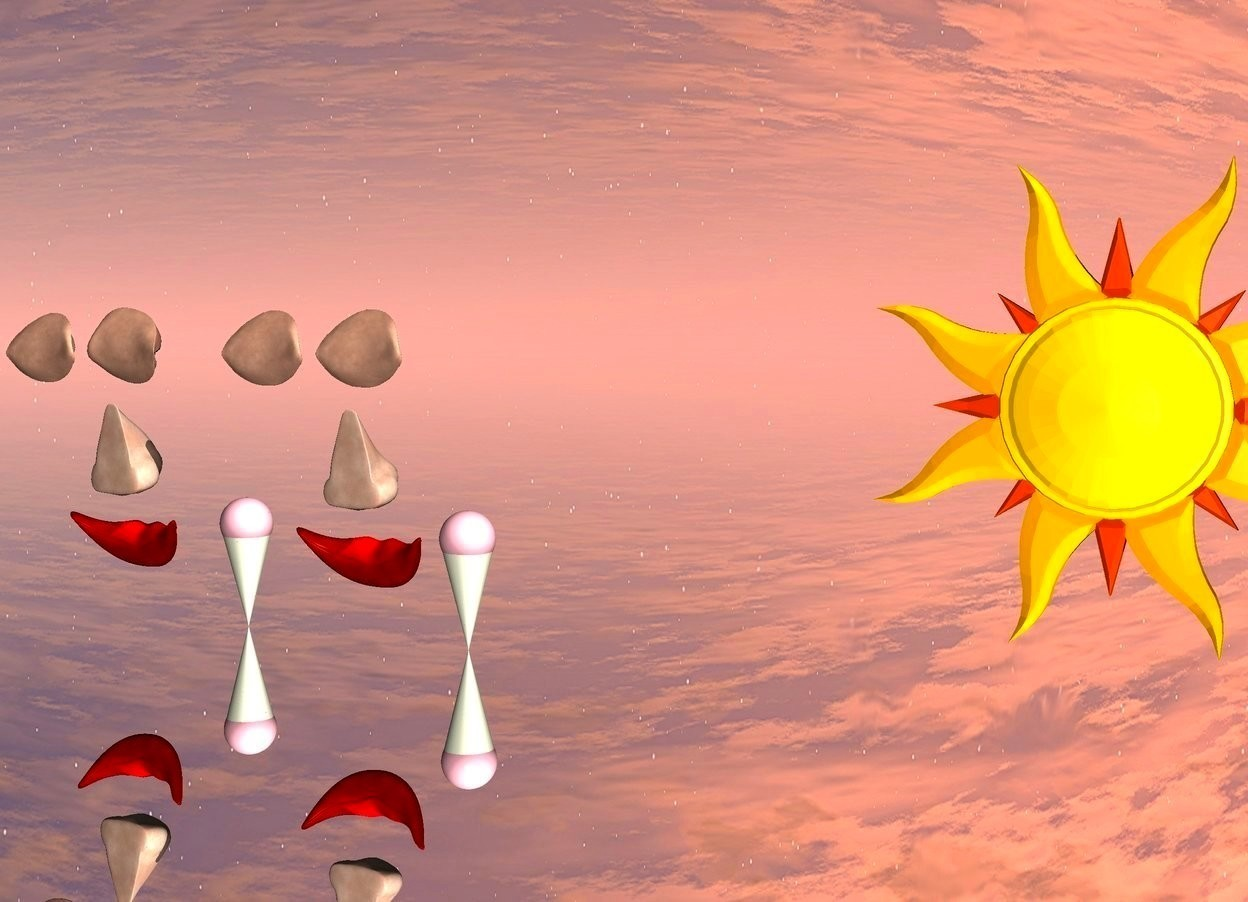 Input text: beige cone. a small pink sphere is in the cone. the cone is upside down. A huge mouth is a foot behind the sphere. A huge nose is 5 centimeters above the mouth. a huge eye is 5 centimeters above the nose. a 2nd huge eye is 5 centimeters to the right of the huge eye.   the ground is silver. An enormous star is 50 feet in front of the pink sphere. the enormous star is in the ground.  2nd beige cone is 2 feet to the left of the beige cone. a 2nd small pink sphere is in the cone. the cone is upside down. A 2nd huge mouth is a foot behind the sphere. A 2nd huge nose is 5 centimeters above the mouth. a 3rd huge eye is 5 centimeters above the nose. a 4th huge eye is 5 centimeters to the right of the 3rd huge eye.