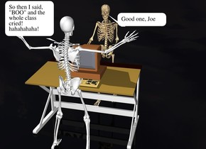 A computer is on a desk. a skeleton is in front of the desk. the skeleton is facing the desk. the ground is black. a 2nd skeleton is behind the desk. the 2nd skeleton is facing the desk.