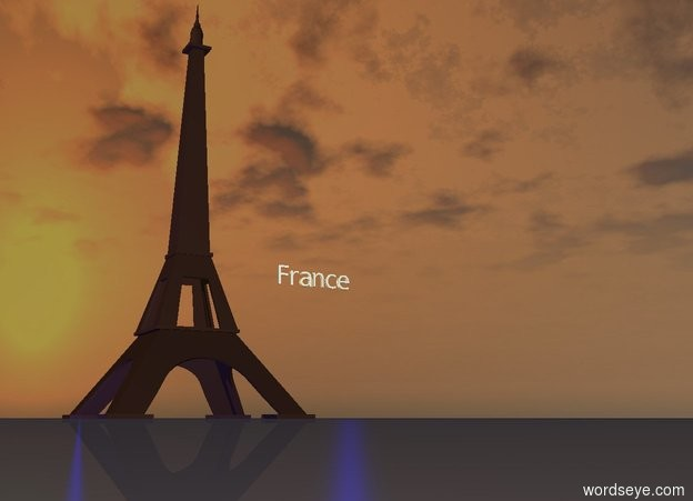 "Input text: The tiny Eiffel Tower is next to giant ""France"".  ""France"" is 40 feet off the ground.  The Eiffel Tower is on the ground.  It is sunset.  A blue light is to the right of ""France"".  A blue light is to the left of the Eiffel Tower."