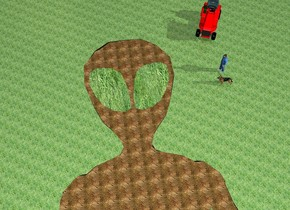 the humongous flat dirt alien is face up. the ground is grass. the eye of the alien is grass. the large red tractor is -4 feet behind and -8 feet to the right of the alien. it is facing the alien. the man is 7 feet in front of the tractor. he is facing left. the dog is 2 feet in front of the man. he is facing left. it is morning.