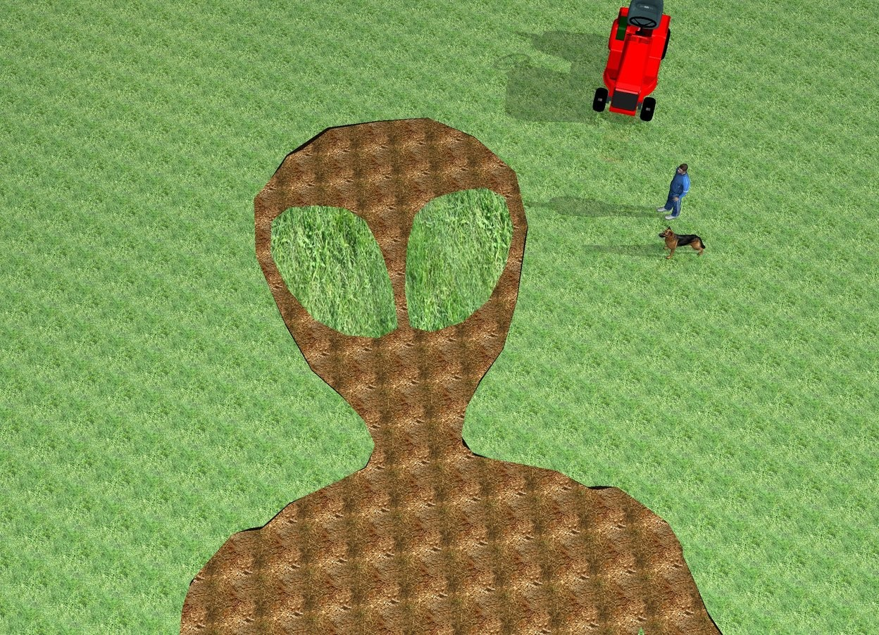 Input text: the humongous flat dirt alien is face up. the ground is grass. the eye of the alien is grass. the large red tractor is -4 feet behind and -8 feet to the right of the alien. it is facing the alien. the man is 7 feet in front of the tractor. he is facing left. the dog is 2 feet in front of the man. he is facing left. it is morning.
