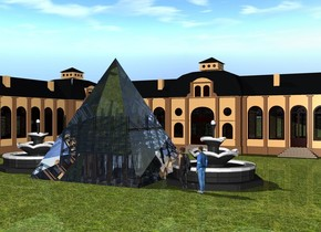 An enormous glass pyramid is 15 feet in front of a building. the building is on the ground. there is a 2nd building on the left of the building. it is on the ground. it is facing east. the ground is grass. a very tiny clear construction site is inside the pyramid. it is 9.5 feet inside the pyramid.  there is a small fountain on the left of the pyramid. there is a 2nd small fountain on the right of the pyramid. there are 2 small people in front of the fountain. they are facing the pyramid.