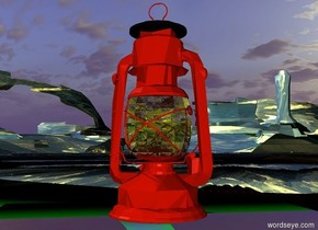 a  fire orange lantern.the bulb of the lantern is yellow. the ground is mountain.a yellow light is in the lantern.