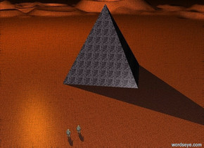 a gigantic stone pyramid. the pyramid is facing northwest. it is night. the ground is unreflective stone. a huge orange light is 30 feet above the pyramid. the light is 50 feet north of the pyramid. a tiny astronaut is 8 feet southwest of the pyramid. the astronaut is facing northeast. another tiny astronaut is 1 foot to the left of the astronaut. the astronaut is facing northeast.