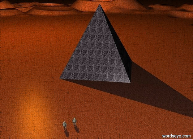 Input text: a gigantic stone pyramid. the pyramid is facing northwest. it is night. the ground is unreflective stone. a huge orange light is 30 feet above the pyramid. the light is 50 feet north of the pyramid. a tiny astronaut is 8 feet southwest of the pyramid. the astronaut is facing northeast. another tiny astronaut is 1 foot to the left of the astronaut. the astronaut is facing northeast.