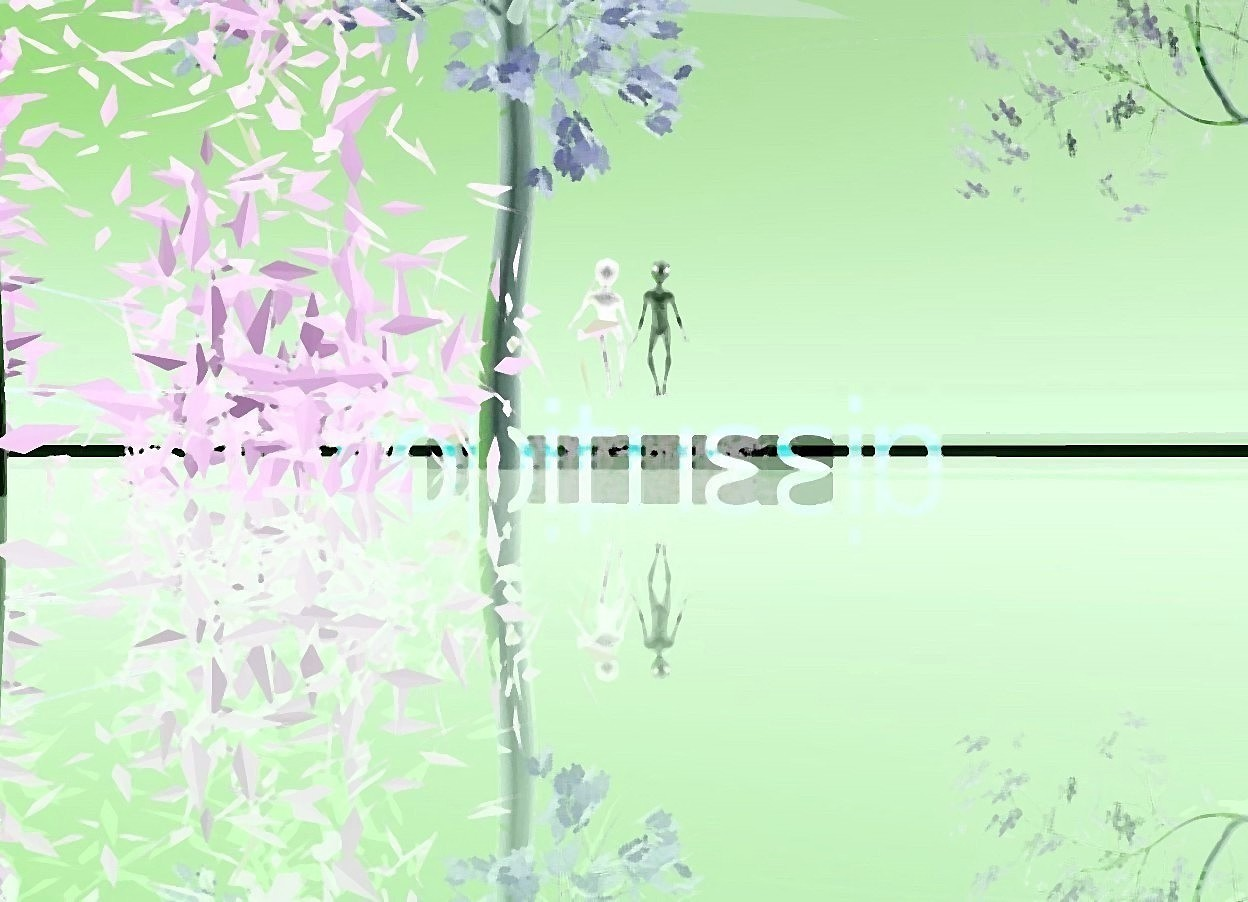 Input text: transparent red robitussin. it is 6 inches in the shiny purple lake. the lake is 8 feet in the ground. 6 reflective black cubes behind robitussin. shiny purple crocodile under robitussin. there are 6 little trees on the crocodile. there are 6 little upside down trees in front of the crocodile. there is a bright blue-violet light on the crocodile. there are two small people on robitussin. the ambient light is purple.