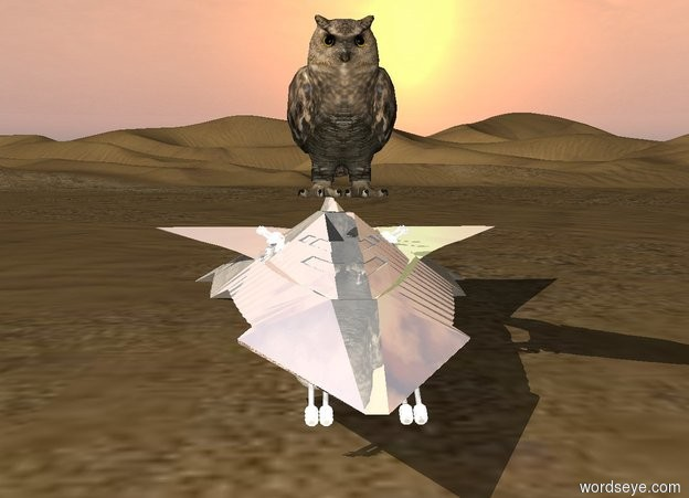 Input text: Below the big owl is a tiny shiny starship in a desert.