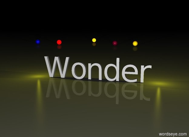 "Input text: It is night.  The yellow light is to the left of ""Wonder"".  The other yellow light is to the right of ""Wonder"".  The gold sphere is 30 feet behind ""Wonder"".  The blue sphere is 20 feet to the left of the gold sphere.  The orange sphere is 40 feet behind ""Wonder"" and 10 feet to the left of the gold sphere.  The red sphere is 30 feet behind ""Wonder"" and 15 feet to the left of the gold sphere.  The purple sphere is 30 feet behind ""Wonder"" and 3 feet to the left of the gold sphere."