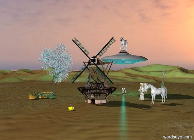 Input text:   a white  horse is facing a white  transparent windmill in the desert. a big  cactus is ten feet  behind the horse. a   man  is facing  the white transparent windmill. a black and white cow   is twenty feet  behind the white transparent windmill. a ufo  is ten feet above the cow. a cyan light is above the cow.  a unicorn  is on the ufo. a alien is on the big cactus. a rainbow couch is ten feet on the left of the windmill. a tree is behind the couch. a very small woman in a huge yellow teacup  ten feet  in front of the windmill.