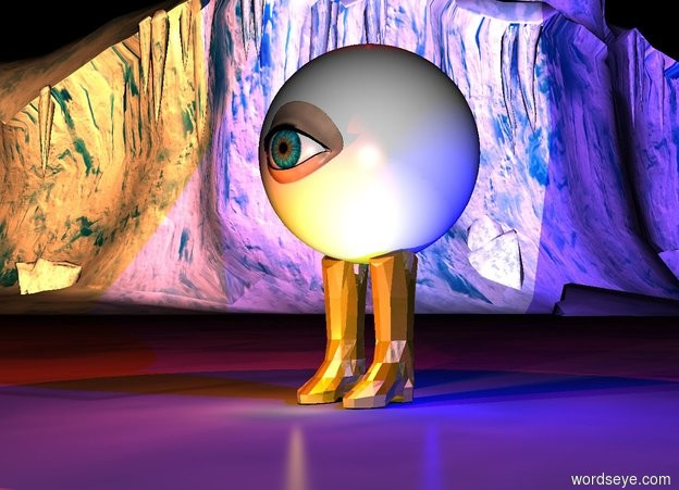 Input text: a pair.a 3 feet tall sphere is -2 inches above the pair.the sphere is -30 inches in front of the pair.a  1 feet tall eye is -2 inches in front of the sphere.the eye is -25 inches above the sphere.the sun's altitude is 90 degrees.a first red light is above the sphere.it is night.a yellow light is in front of the pair.a first blue light is right of the pair.the pair is gold.a second red light is in front of the sphere.a second blue light is right of the sphere.