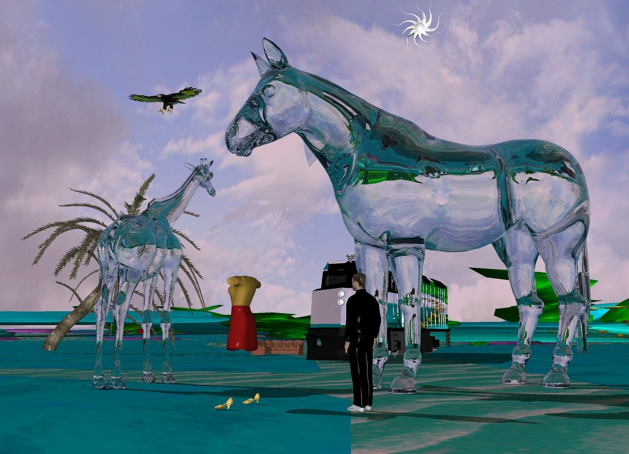 Input text: a man.a 20 feet tall clear horse is 1 feet behind the man.a clear giraffe is 5 feet left of the horse.the horse is facing southwest.the man is facing the giraffe.a silver train is 30 feet behind the giraffe.the giraffe is facing the train.the ground is 50 feet tall.the man is black.a sofa is 10 feet left of the train.a 6 feet tall group is 4 feet left of the man.the group is facing left.a clear eagle is 2 feet above the giraffe.a gold tree is 10 feet left of the sofa.a sun symbol is 1 feet above the horse.the sun is lilac.