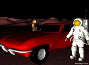 an astronaut is above the red desert. it is night. there is a light 20 feet in front of the astronaut. beside the astronaut is a car. on the left side of the car is a woman. the woman is facing the astronaut.