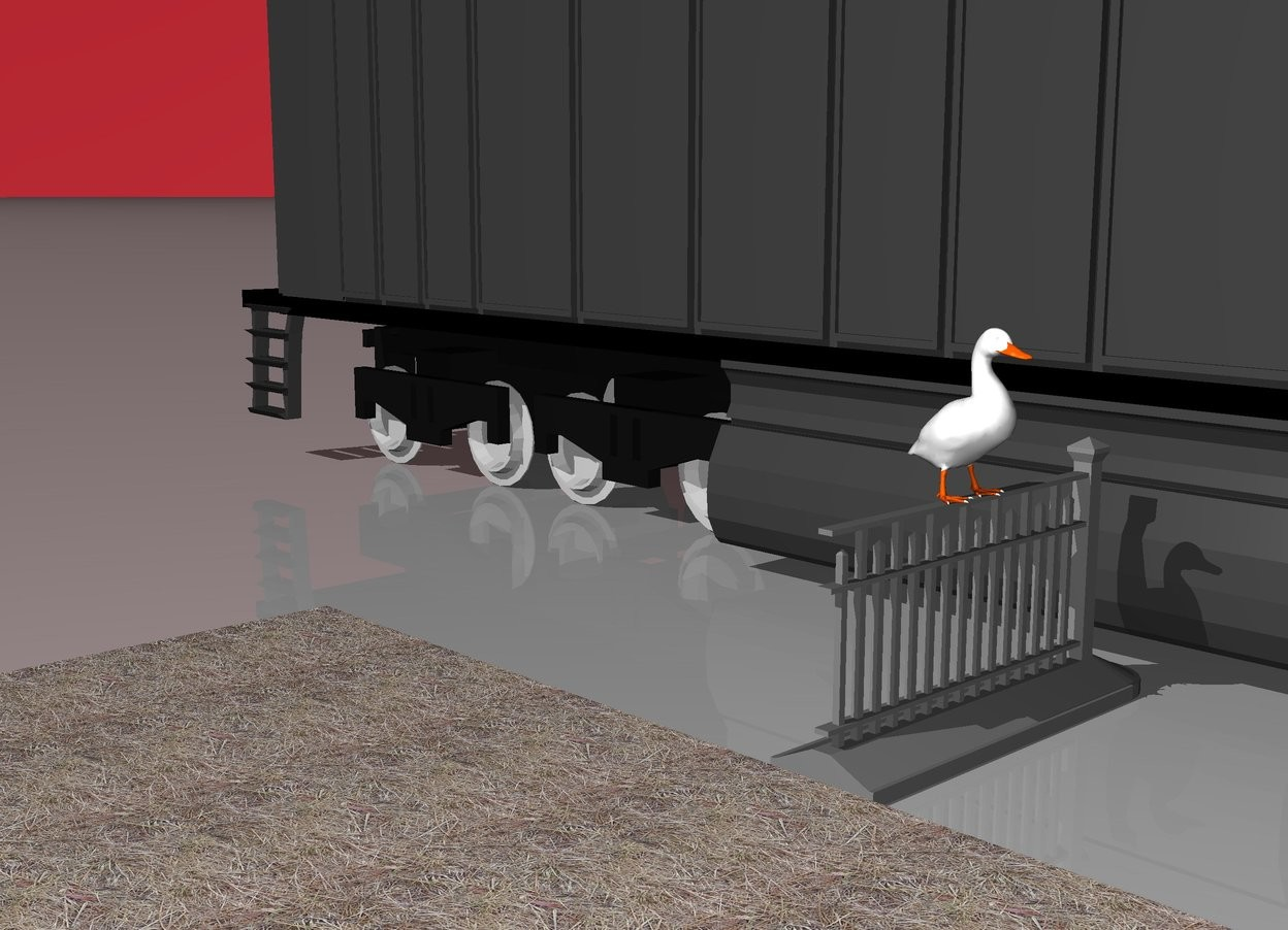 Input text: A DUCK ON FENCE. fLOOR IS GRASS. SKY IS STRAWBERRY. tRAIN WITH 10 PEOPLE.