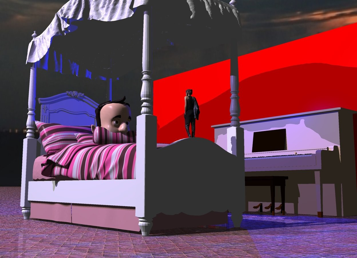 Input text: the bed is on the ground. the man is 3.2 feet in the bed. the red wall is 7 feet to the right of the bed. it is facing left. the tan piano is to the left of the wall. it is facing left. the ground is tile. the sky is [sky]. the blue light is above and to the left of the piano. the mauve light is above and 5 feet to the left of the bed. the tiny woman is -1.7 foot above and 2.2 feet in front of the man. she is facing the man. the camera light is black.