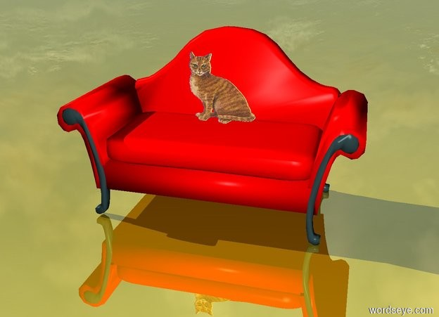 Input text: the small cat sits on the red couch and the ground is gold
