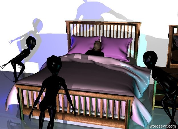 Input text: a bed.a woman is -53 inches above the bed.the woman is facing up.the woman is leaning 25 degrees to the south.the bed's blanket is lilac.the bed's pillow is violet.a 80 feet long wall is behind the bed.the wall is 40 feet tall.a dresser is right of the bed.a first alien is left of the bed.the first alien is facing the dresser.a second alien is in front of the dresser.the second alien is facing the bed.the second alien is -10 inches right of the bed.the third alien is in front of the bed.the third alien is facing the bed.a white light is 5 feet in front of the third alien.it is night.a blue light is in front of the first alien.a cyan light is in front of the second alien.a mauve light is in front of the third alien.