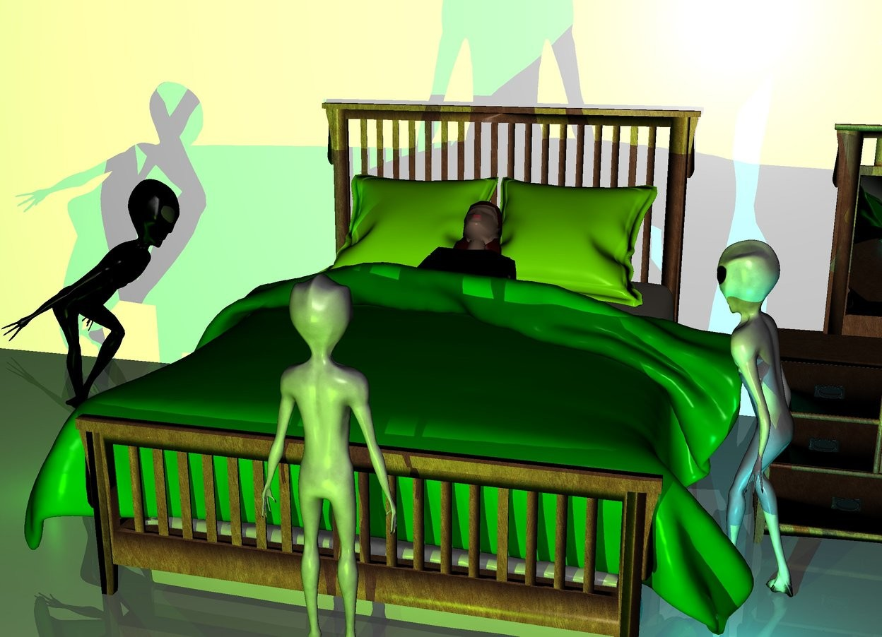 Input text: a bed. a woman is -53 inches above the bed. the woman is facing up. the woman is leaning 25 degrees to the south. the bed ' s blanket is green. the bed ' s pillow is chartreuse. a 80 feet long wall is behind the bed. the wall is 40 feet tall. a dresser is right of the bed. a first alien is left of the bed. the first alien is facing the dresser. a second alien is in front of the dresser. the second alien is facing the bed. the second alien is -10 inches right of the bed. the third alien is in front of the bed. the third alien is facing the bed. a chartreuse light is 5 feet in front of the third alien. it is night. a green light is in front of the first alien. a cyan light is in front of the second alien. a dark green light is in front of the third alien.
