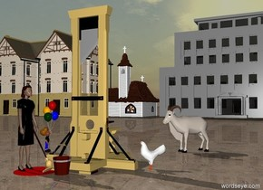 a guillotine.a bucket is in front of the guillotine.a red puddle is left of the bucket.a mop is in the puddle.a woman is -10 inches left of the mop.the mop is leaning 32 degrees to the woman.the woman is facing right.the ground is dirt.a chicken is right of the guillotine.the chicken is facing the bucket.a building is 80 feet behind the guillotine.the building is grey.a church is 10 feet left of the building.the sun is dull grey.a boy is 3 feet left of the woman.the boy is 6 feet behind the woman.a goat is 6 feet behind the chicken.the goat is facing southwest.the boy is facing the goat.a first house is 6 feet left of the church.a second house is 6 feet left of the first house.
