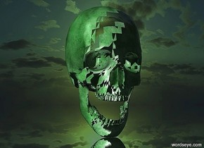 A 50 inch tall transparent skull.a 2nd 50 inch tall    malachite green skull is 50 inch in the skull.the ground is silver.the sun is malachite green.
