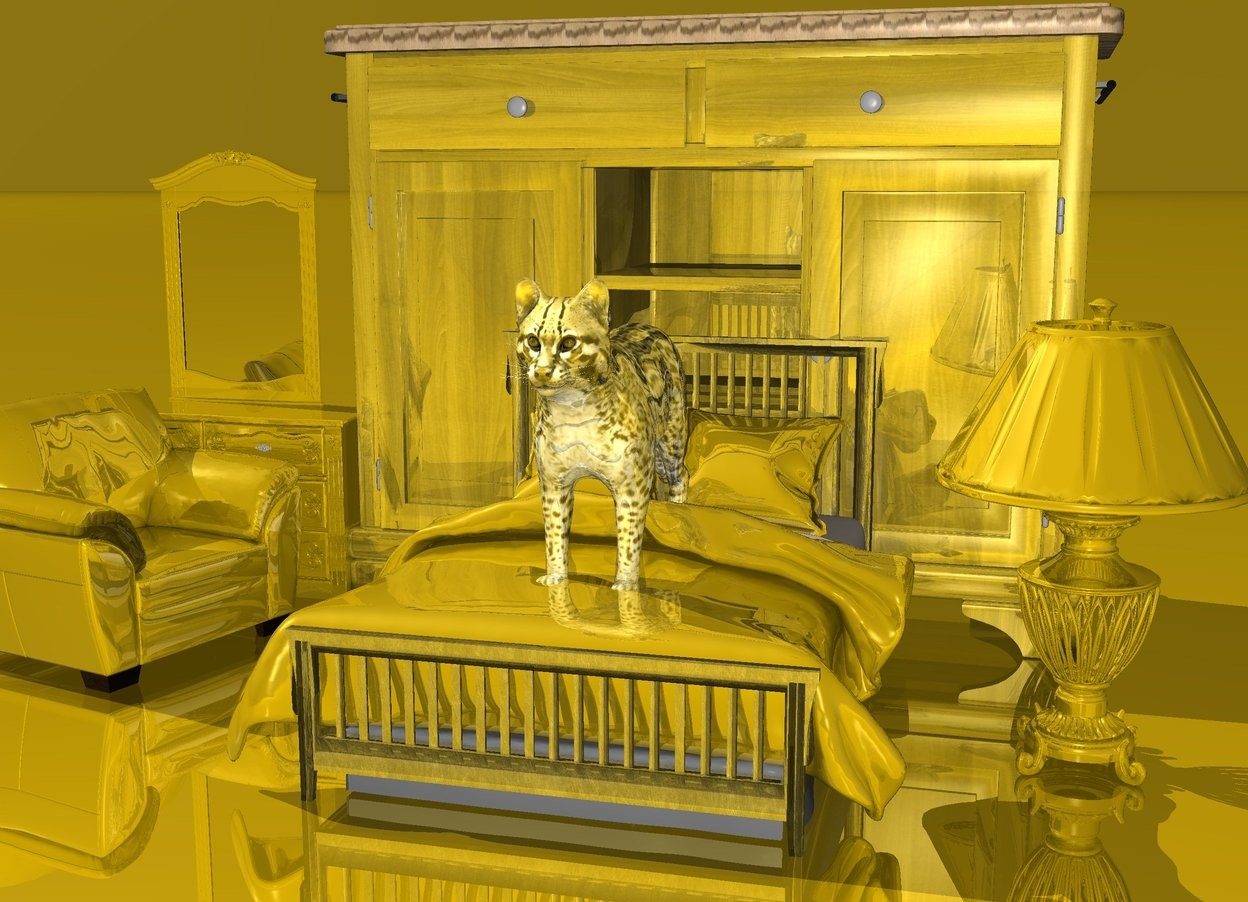Input text: a 50 inch tall bed.the blanket of the bed is gold.behind the bed is 100 inch tall gold buffet.left of the buffet is a 40 inch tall gold armchair. the armchair is facing right.the armchair is in front of the buffet. behind the armchair is a 80 inch tall gold dresser.right of the bed is 60 inch tall gold lamp.the lampshade of the lamp is gold.the pillow of the bed is gold.the bed is gold.the ground is gold.the sky is gold.the countertop of the buffet is old gold wood.on the bed is a  40 inch tall  gold cat.