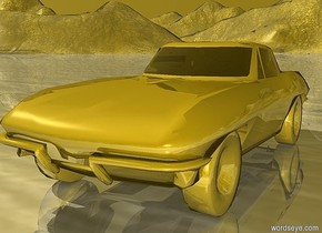 a 50 inch tall gold car.the wheel of the car is gold.the sky is gold.the ground is gold.
