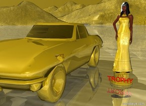 """a  5 feet tall gold trophy. a gold woman is -1.26 feet to the front of and -4 feet above the trophy. a gold corvette is 2 feet left of the trophy. the tire of the corvette is gold. the wheel rim of the corvette is gold. the window of the corvette is gold. the ground is gold. the sky is gold. the  tiny red """"TROPHY"""" is 0.029 feet in front of and -0.7 feet below the trophy"""