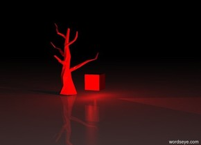 It is night.  The bright red light is below the giant red cube.  The cube is two feet off the ground.  The big red light is to the left of the cube.  The other big red light is to the right of the cube.  The dead tree is behind the cube.  The dead tree is red.  The dead tree is on the ground.