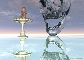 it is dusk. the ground is silver water. there is a 6 inch tall bird bath.  the 3 foot tall transparent skull is 2 feet behind the bird bath. the sun is pink. there is a 4 inch tall baby -1 inch above the bird bath.