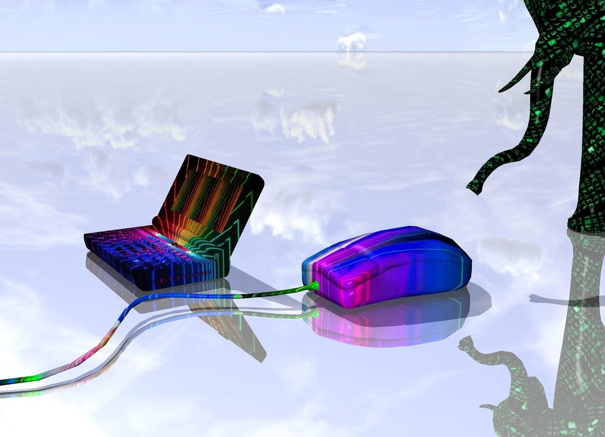 Input text: the enormous [lasertunel] mouse is several inches in front of the [matrix] elephant. mouse is facing right. the ground is shiny. the very huge [laser] computer is 1 feet to the left of the mouse.