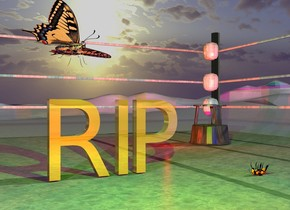 "The gold ""RIP"" is on the [texture] boxing Ring. The very large butterfly is 4 inches above and -20 inches to the left of the ""RIP"". It is facing southeast. it is leaning to the left. The huge bee is 1 foot in front of and a foot to the right of the ""RIP"". It is facing left. It is upside down. It is -2 inches above the bottom of the ""RIP"". The [newspaper] ground. The lime light is above and 2 feet in front of the ""RIP"". The mauve light is two feet to the left of the lime light. The red light is 3 feet in front of the ""RIP"". The camera light is black. it is morning. The blue light is 3 feet to the right of the red light. The wood stool is 3 feet  to the right and 3 feet behind the ""RIP"". The second red light is 6 inches to the left of the stool."