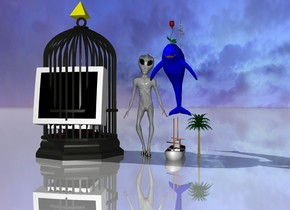 the extremely large alien is next to a 9 feet tall fishing boat. inside the fishing boat there is a huge blue dolphin. there are very huge flowers on the dolphin. the computer monitor fits inside a 22 feet wide birdcage. there is a very large yellow pyramid on the birdcage. the ground is shiny. there is tiny palm tree to the right of the fishing boat.